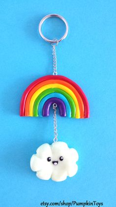 Kawaii Cute Rainbow and Cloud Keychain by PumpkinToys on Etsy, $8.00