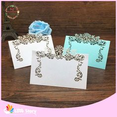 BHL 40pcs Lace Flower Laser Cut Wedding Table Place Card Name Card Wedding Party Table Decoration Flower Table Wedding Decor