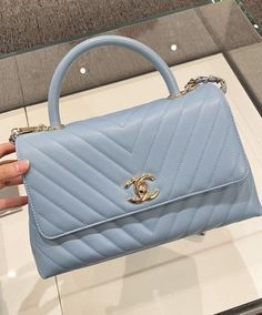 Baby Blue Aesthetic, Light Blue Aesthetic, Luxury Purses, Luxury Bags, Blue Handbags, Purses And Handbags, Fashion Handbags, Chanel Coco Handle, Chanel Purse