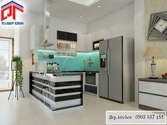 Mẫu tủ bếp gỗ đẹp gam màu trắng đen nổi bật với bộ đảo bếp KC98