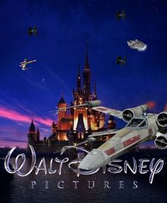 Walt Disney Pictures with Star Wars ships flying all over