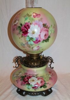 Museum Quality ~ OUTSTANDING HUGE Gone with the Wind Oil Lamp ~Masterpiece Breathtaking BEAUTY WITH HAND PAINTED ROSES ~ Painted on ALL FOUR SIDES ~ Fancy Ornate Handled Font Spill Ring and Base ~Original Parts ~ Original Oil Burning Condition