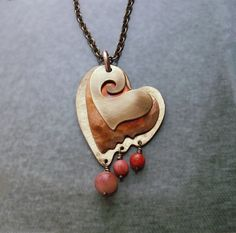 Heart pendant with red beads, copper jewelry, heart pendant, heart necklace handmade, brass and copper jewelry, Mother day jewelry, mom gift by copperryfields on Etsy https://www.etsy.com/listing/221765547/heart-pendant-with-red-beads-copper