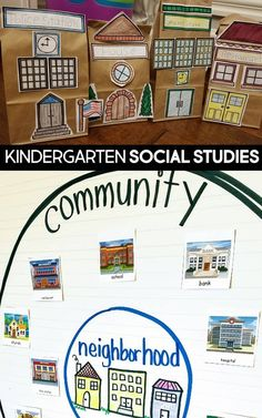 Kindergarten SOCIAL STUDIES Unit Plan: My Community. Scripted lessons, books, activities, student crafts and workbook and more.