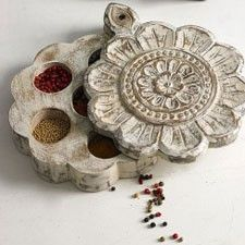 Masala Dabba (Indian spice box) - I've only ever seen the round aluminum tray - this one is really pretty, and functional!