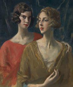Portrait of Baronne Baba d'Erlanger (1901-1945) and Miss Paula Gellibrand (1898-1964) -  (painted 1919-21) by Augustus John (1878-1961) - (songesoleil)