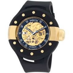 78% Discount#Invicta Men's 0868 S1 Automatic Gold Tone Skeleton Dial Black Polyurethane Watch   Skeleton Watches