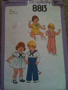 #Simplicity8813. Toddlers' dress, top and pants or shorts, size 1/2 & 1. Copyright 1978.