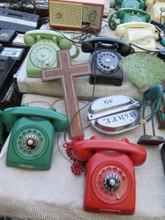 vintage telephones and cross in Mexico City flea market