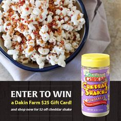 Attention all Cheddar Shake fans! Like this post and comment below with your favorite way to use cheddar shake and you will be entered to win a $25 Dakin Farm gift card! Head over to Dakin Farm to stock up on cheddar shake - it's $2 off through the month of October.