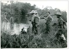 French foot patrol in Cochinchine during war in Indochine. Date unknown - pin by Paolo Marzioli Vietnam Veterans, Vietnam War, Colonial, First Indochina War, French Foreign Legion, Can Tho, French History, French Army, Indochine