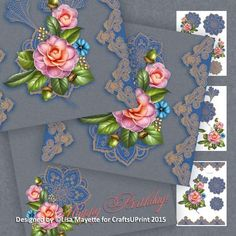 Paisley Lace & Pink Roses Decoupage Mini Kit - This blue & gold 8x8 card features an intricate paisley gold lace trim, pink roses and blue & gold paisley flowers on a golden blue background. An exoticly romantic and elegant card perfect for celebrating any romantic occasion.  Art by Hafapea, Ragesh & Moonbeam1212. #CardMakingKits #CraftsUPrint #LisaMayette #Hafapea