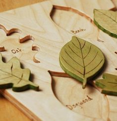For nature lovers of all ages this sturdy puzzle contains six  leaf shapes - Oak, Beech, Ivy, Dogwood, Maple and Cottonwood. Beneath  each piece is the name of the leaf. Puzzle measures 8 1/2 x 11 inches. Puzzle board is 3/8