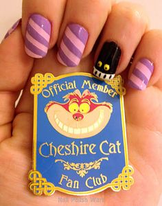 Nail Polish Wars: Twas Brillig Indeed! Disney Inspired Nails, Disney Nails, Cat Nail Art, Cat Nails, Cat Halloween Makeup, Halloween Nails, Cat Makeup, Garra, Love Nails