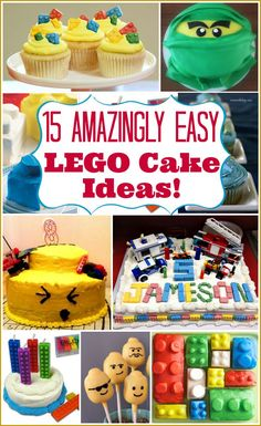 LEGO Cake Ideas: 15 easy LEGO birthday cakes with tutorials included for all of them. Some are so simple kids can make them by themselves!