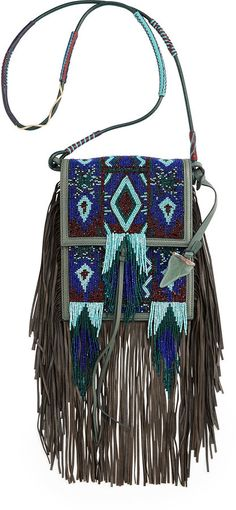 Etro Beaded Fringe Mini Crossbody Bag, Blue Multi