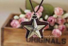 Christmas Gift, Star Necklace, Star Pendant, Star Jewelry, Brass Star Necklace, Bronze Lariat Necklace, Woodland Jewelry, Brown Leather Star on Wanelo