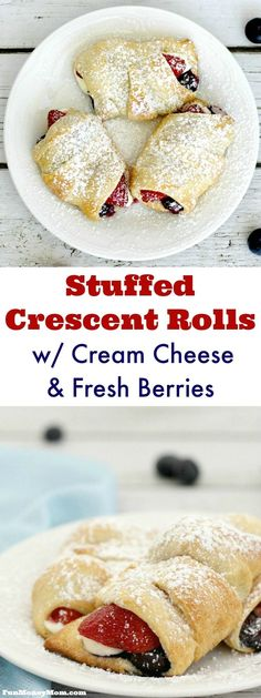 With just four main ingredients, these Cheese & Berry Stuffed Crescent Rolls are just as easy as they are delicious. Serve them for breakfast or dessert! easy 3 ingredients easy for a crowd easy healthy easy party easy quick easy simple Easy Desserts, Delicious Desserts, Yummy Food, Recipes Using Crescent Rolls, Pillsbury Crescent Recipes, Pillsbury Dough, Cream Cheese Crescent Rolls, Stuffed Crescent Rolls, Cresent Rolls Breakfast
