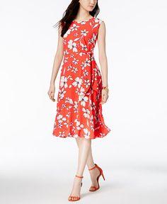 f32c609d55c4 Jessica Howard Floral-Print A-Line Midi Dress & Reviews - Dresses - Women -  Macy's