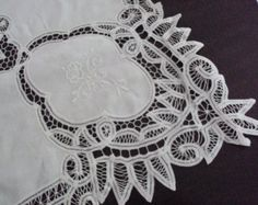 Now Reduced Fabulous Vintage French White Tablecloth Ribbon Lace Embroidered Roses with 12 Napkins Banquet Fine Dining Unused from Paris French Fabric, French Lace, French Vintage, Linen Tablecloth, Lace Tablecloths, Embroidered Roses, Paris Shopping, Art Nouveau, Boy Or Girl