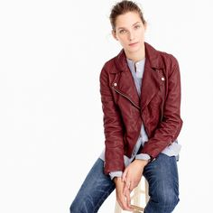 Shop the Collection washed leather motorcycle jacket at J.Crew and see the entire selection of Women's Outerwear. Find Women's clothing & accessories at J. Coats For Women, Jackets For Women, Best Rain Jacket, Best Leather Jackets, Crew Clothing, Outerwear Women, Lightweight Jacket, Motorcycle Jacket, Fall Outfits