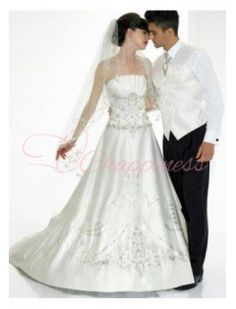 Satin Strapless Embroidery A Line Wedding Dress