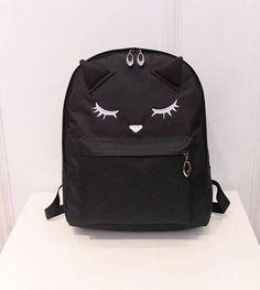 Cute Cartoon Embroidery Cat Printing Backpack Canvas Backpacks For Teenage Girls College Style Casual Backpack Sac Mochilas  #Happy4Sales #YLEY #L09582 #kids #highschool #backpack #shoulderbags #handbags #bag #bagshop