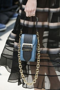 Serenity blue accessory purse. Burberry Spring 2016 Ready-to-Wear Fashion Show Details