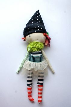 "punky little lu doll 12"" inch ish - circus girl with spunky orange gold and purple spiky hair - all stripes and polka dots, funky tutu"