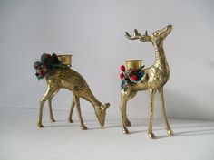 Brass Pair Of Christmas Reindeer Candleholders