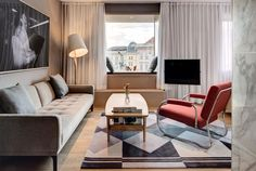 "Cozy and sophisticated, The Guesthouse Vienna offers a private ambiance with exquisite quality and an urban vibe in the heart of Vienna, just behind the State Opera House. The interior concepts are by Sir Terence Conran/Conran & Partners and combine trend awareness, comfort and and functionality into an unique style. Design classics by Wittmann and Oswald Haerdtl adorn the spacious rooms and create a unique ""at-home"" feeling. Downstairs guests will find a contemporary brasserie and bakery."