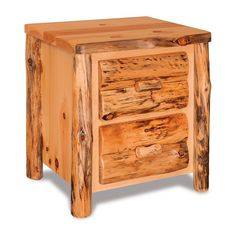 Amish Log Nightstand with Optional Hidden Compartment Rustic style nightstand that's easy to customize. Available with choice of 2 drawers, 3 drawers or 1 drawer 2 cabinet doors. You can also add a secret compartment. Choice of wood too. Amish made in America.#logfurniture #rusticstyle #rusticfurniture #nightstand