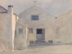 Archibald Knox (1864 - 1933, Scotland) The Kella Mill, Sulby. watercolour on paper.   Knox's watercolour sketches can be seen as exercises in capturing the light and a single moment in time. The artist is said to have   painted his watercolour scenes in a few hours or less, but that he would also sit for hours waiting for the exact light and cloud   formations that he wanted to paint.