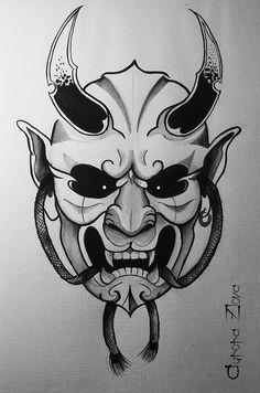 Aurora Zlova — Oni mask (japanesse daemon) gorgeous akuma/ already done Samurai Mask Tattoo, Oni Mask Tattoo, Hanya Tattoo, Demon Tattoo, Tattoo Maori, Japanese Tattoo Art, Japanese Tattoo Designs, Tattoo Sketches, Tattoo Drawings