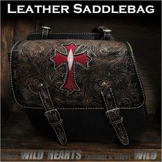 In-layed with real red dyed stingray leather! Cross Carved Leather Single/Solo Saddlebag Motorcycle Harley-Davidson Black Stingray WILD HEARTS Leather&Silver (ID Leather Motorcycle Saddlebags, Motorcycle Leather, Apple Watch バンド, Scrambler Motorcycle, Biker Style, Harley Davidson Motorcycles, Wild Hearts, Saddle Bags, Louis Vuitton Monogram