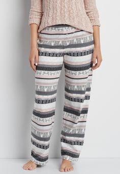 ultra soft fleece sleep pant with fair isle, squirrel, and reindeer stripes