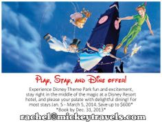 Don't miss out on this awesome promotion! Now is the best time to book your Walt Disney World Vacation for 2014! What a great holiday gift to give this year! Contact me for more details Rachel@mickeytravels.com °o°