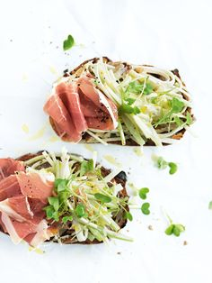 open sandwiches in the spring 2012 issue of donna hay magazine. Delicious prosciutto and waldorf salad. Sandwiches, Healthy Foods To Eat, Healthy Recipes, Donna Hay Recipes, Waldorf Salad, Salad Sandwich, Cafe Food, Wrap Recipes, Wraps