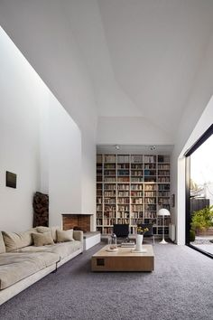 Home Library Rooms, Home Library Design, Home Libraries, Home Interior Design, Interior Architecture, Library Ideas, Modern Library, Loft Design, Minimalist Architecture