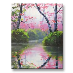 PINK WALL DECOR Original oil Painting River Landscape fine art