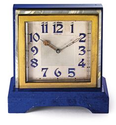 CARTIER A FINE BRASS, HARDSTONE AND LACQUER PARTNER'S DESK TIMEPIECE NO 2329 CIRCA 1950