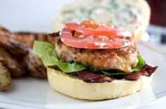 Chicken Burgers with Bacon & Cheddar - topped with Basil Mayo  Sounds wonderful.