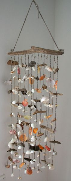 Large Driftwood Sea Shell Mobile Beach Wind Chime Sea Shell
