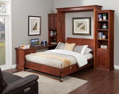 """Wallbeds """"n"""" More offers a variety of space saving bedroom furniture such as murphy beds, sofa beds, cabinet beds, desk beds and library beds. Queen Bedroom, Home Bedroom, Bedroom Decor, Master Bedroom, Space Saving Bedroom, Space Saving Furniture, Kids Bedroom Sets, Bedroom Furniture Sets, Modern Murphy Beds"""