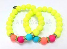 Neon Yellow Beaded Bracelet Set by RandRsWristCandy on Etsy, $9.00