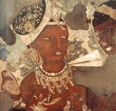 A painting of  a 'Flying Apsara' at the ancient Ajanta Caves, Aurnagabad, India