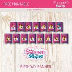 Free Printable Shimmer and Shine Birthday Banner | Birthday Buzzin