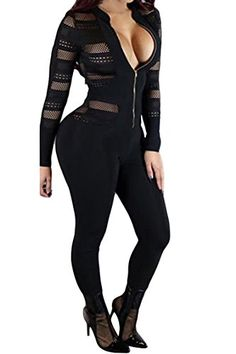 18f838efd8c8 Fixmatti Womens Sheer Open Bust Long Sleeve Club Tight Jumpsuit Romper  Black XL    Click