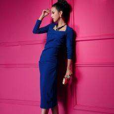 Vintage Graceful Blue Long Sleeve Dresses For Women
