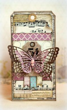 """This is a tag I made with Bo Bunny's gorgeous """"C'est la vie"""" collection."""